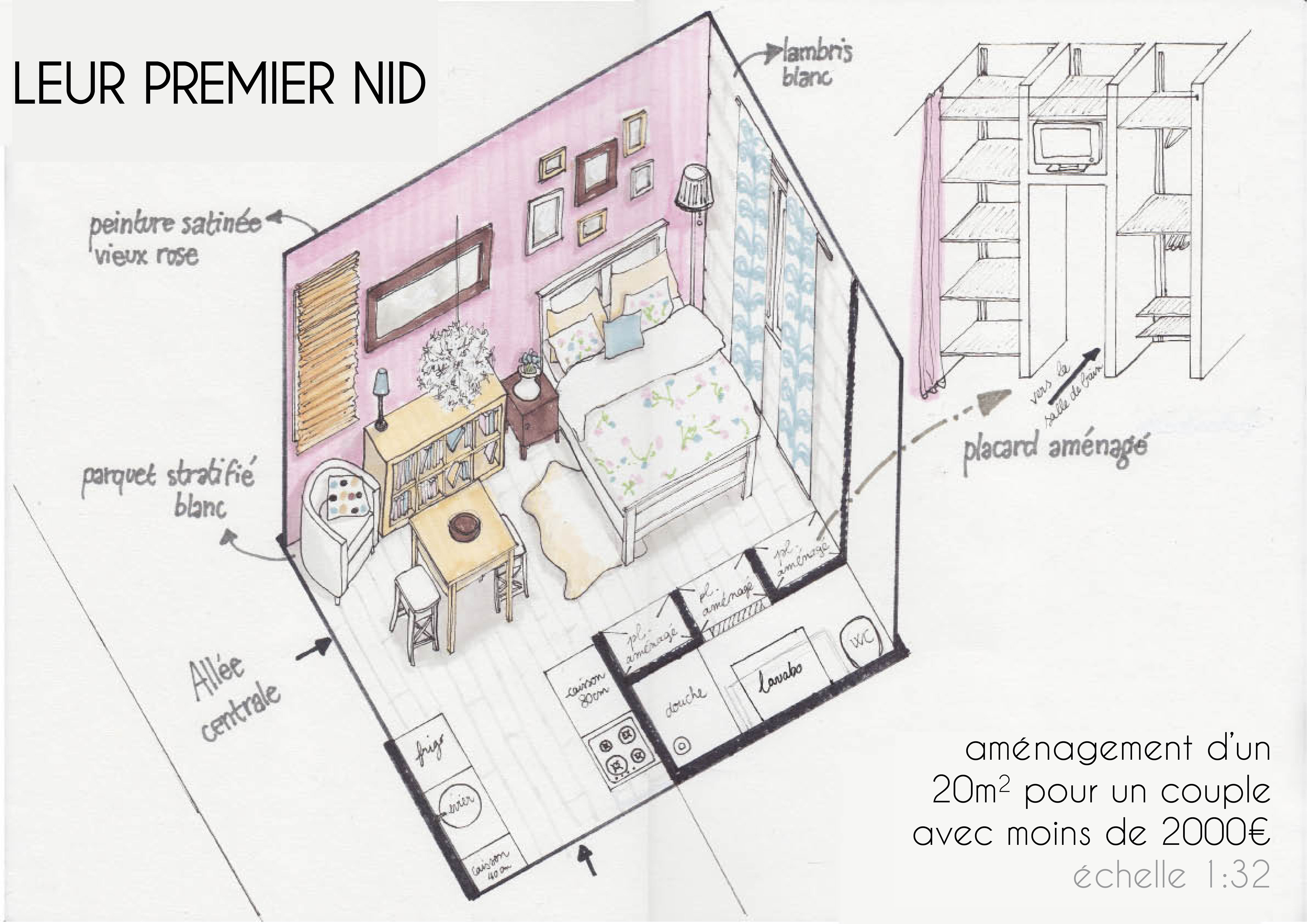 projet d am nagement d un studio. Black Bedroom Furniture Sets. Home Design Ideas