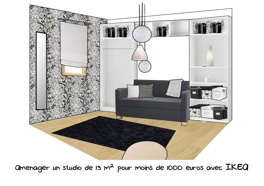 projet d am nagement de studio. Black Bedroom Furniture Sets. Home Design Ideas
