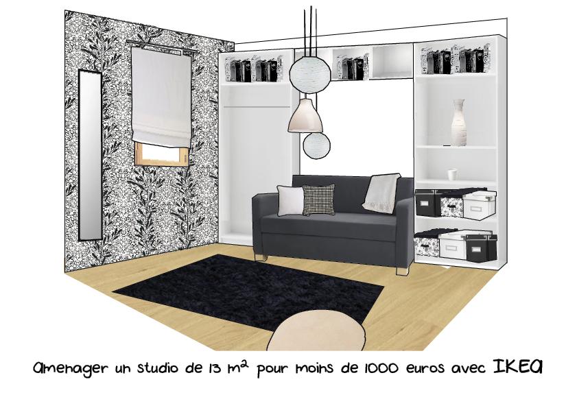 projet d am nagement de studio. Black Bedroom Furniture Sets. Home Design Ideas